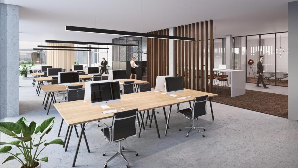 Interieur van kantoorruimte met bureaus in Kontich